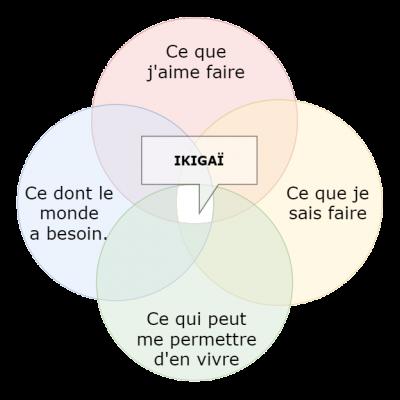 Rosace représentant les 4 parties de l'Ikigaï